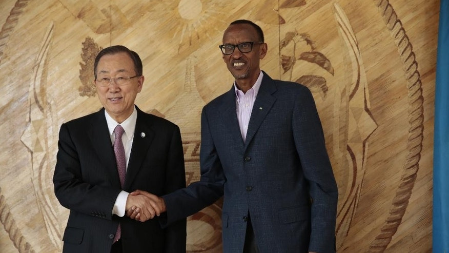 This photo provided by the United Nations, UN Secretary-General Ban Ki-Moon meets with President of Rwanda Paul Kagame at Urugwiro Village in Kigali, Rwanda on Sunday, April 6, 2014.  (AP Photo/United Nations, Evan Schneider)