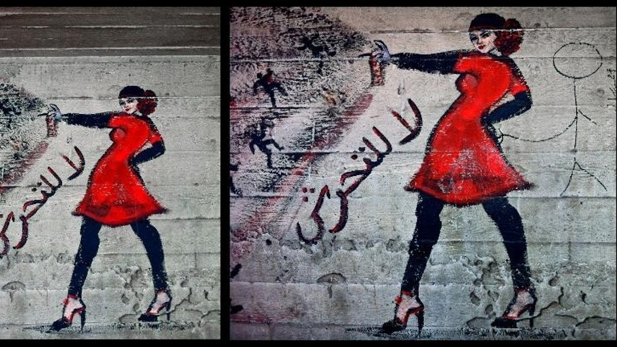 "This combination of two photos taken shows graffiti of a woman with the words ""no harassment,"" in Arabic, taken on June 23, 2012, left, and the addition by another artist, on Nov. 6, 2012 of a stick figure touching her backside, under a bridge in the upscale Zamalek neighborhood in Cairo, Egypt. Violence is a ""very intimidating weapon"" against women participating in public life, said Dalia Abdel-Hameed, gender rights researcher with the Egyptian Initiative for Personal Rights, an independent rights group. (AP Photo/Maya Alleruzzo)"