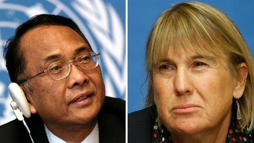 Makarim Wibisono of Indonesia (l.) and Christine Chinkin, a professor at the London School of Economics, both have a history of anti-Semitic statements.