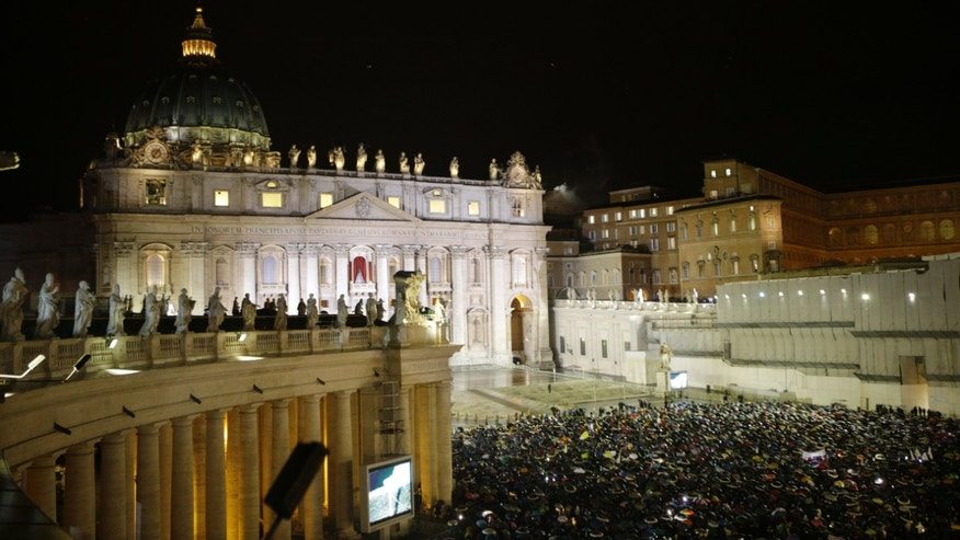 March 13, 2013: White smoke billows from the chimney on the Sistine Chapel indicating that a new pope has been elected in St. Peter's Square at the Vatican.