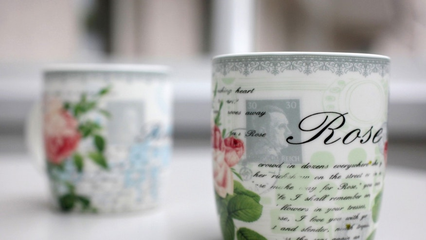 April 10, 2014: Coffee cups with a small Hitler portrait are pictured in Bielefeld Germany.