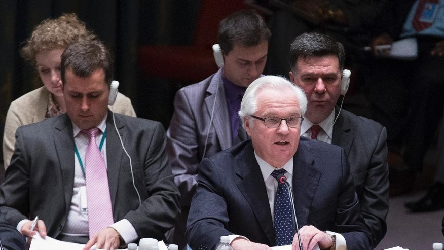 Vitaly Churkin, the Russian Federation's ambassador to the United Nations, speaks during an U.N. Security Council emergency meeting called at Russia's request to discuss the growing crisis in Ukraine, Sunday, April 13, 2014, at United Nations headquarters. The meeting comes as the new Ukrainian government declared it would deploy armed forces to quash an increasingly bold pro-Russian insurgency in its eastern region. (AP Photo/John Minchillo)