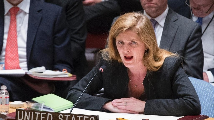 Samantha Power, the United State's ambassador to the United Nations, speaks during an U.N. Security Council emergency meeting called at Russia's request Sunday, April 13, 2014, at United Nations headquarters, to discuss the growing crisis in Ukraine. The meeting comes as the new Ukrainian government declared it would deploy armed forces to quash an increasingly bold pro-Russian insurgency in its eastern region. (AP Photo/John Minchillo)
