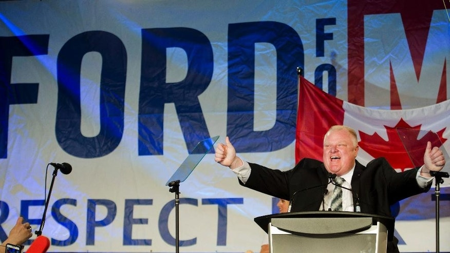 Toronto Mayor Rob Ford reacts as he speaks to his supporters during his re-election campaign launch in Toronto, on Thursday, April 17, 2014. His main rivals — Olivia Chow, John Tory, Karen Stintz and David Socknacki — have already started their bids for the job. Ford was stripped of most of his powers after he admitted to having smoked crack cocaine. (AP Photo/The Canadian Press, Nathan Denette)