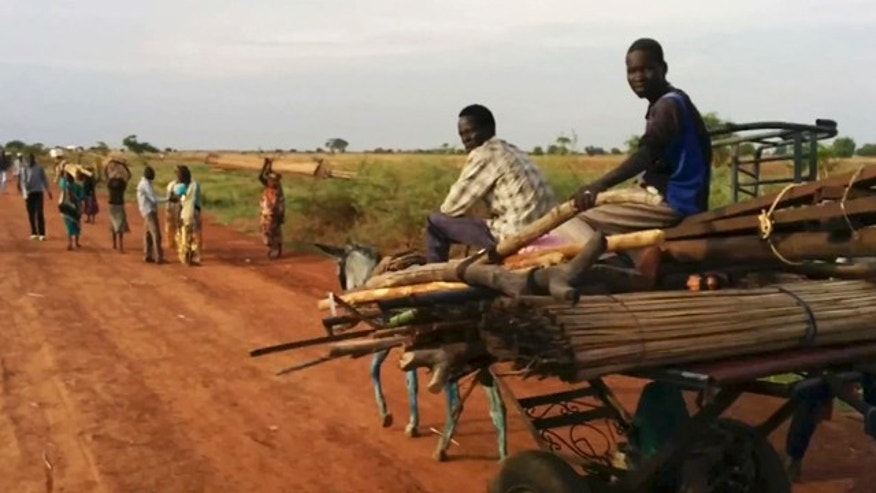April 20, 2014: In this image taken from video people travel on the road near Bentiu South Sudan. (AP Photo/Toby Lanzer, United Nations)