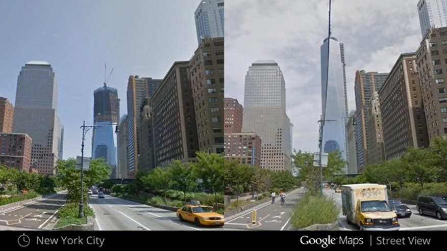 This illustration provided by Google highlights a new Google Maps Street View snapshots feature, which allow users to see what specific neighborhoods and landmarks looked like at different periods during the past seven years that Google Inc. has been dispatching camera-toting cars to take pictures for its maps. This image shows what the under construction One World Trade Center in New York looked like in April 2009, left, and August 2013, right. (AP Photo/Google)