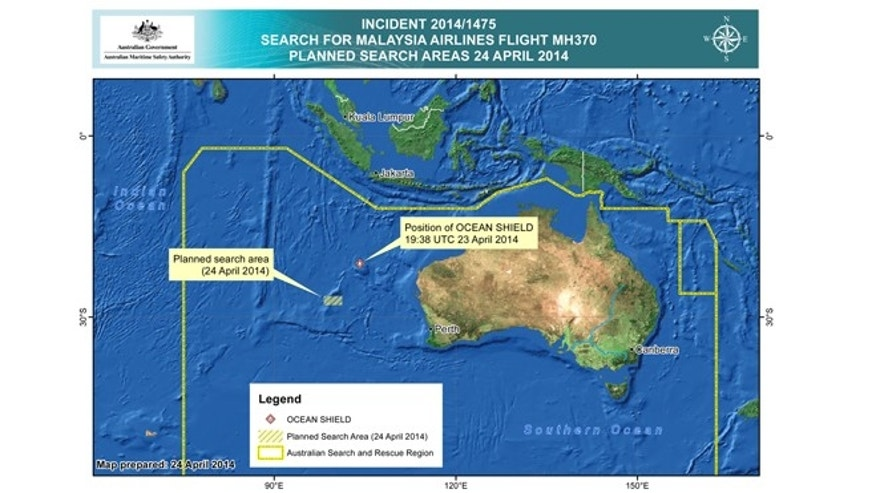 In this map provided on Thursday, April 24, 2014, by the Joint Agency Coordination Centre, details are presented in the search for the missing Malaysia Airlines Flight 370 in the southern Indian Ocean.