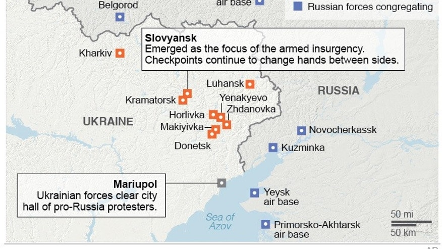 Map reflects the recent and latest uprisings in eastern Ukraine; 3c x 4 inches; 146 mm x 101 mm;