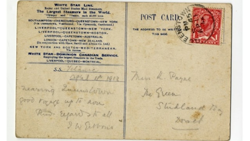 A second class breakfast menu that doubled as a postcard is among memorabilia from the Titanic slated to be auctioned to commemorate the 102nd anniversary of the sinking.