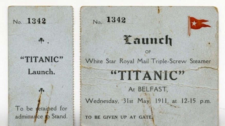 A VIP ticket to the Titanic's launch is among memorabilia related to the ship slated to be auctioned to commemorate the 102nd anniversary of the sinking.