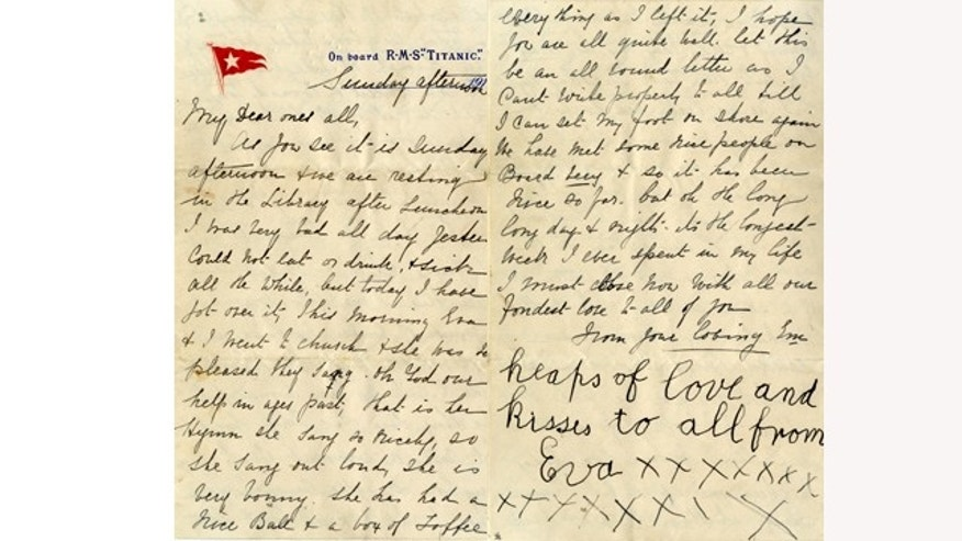 April 26, 2014: These images released by Henry Aldridge And Son Auctioneers show a letter written by Esther Hart and her seven-year-old daughter Eva as they sailed aboard RMS Titanic in April 1912, shortly before the ship struck an iceberg and sank in the North Atlantic Ocean.  Hart survived, and so did the letter she wrote because her husband put the letter inside the pocket of his coat which he gave to his wife to keep warm, giving exquisite details about the voyage aboard the ill-fated Titanic. (AP PHOTO /Henry Aldridge And Son Auctioneers)
