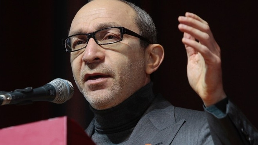 Feb. 22. 2014: In this file photo, Kharkiv mayor Hennady Kernes speaks at the congress of provincial lawmakers and officials in the Ukrainian eastern city of Kharkiv.