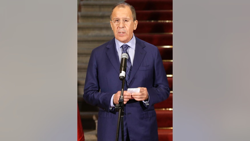 Russian's Foreign Minister Sergey Lavrov, speaks during a conference at the Foreign Ministry building in Lima, Peru, Wednesday, April 30, 2014. Lavrov is in Lima, for a one day visit in his tour of Latin America. (AP Photo/Martin Mejia)