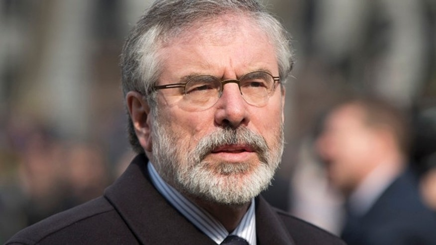 Mar. 27, 2014: Sinn Fein president Gerry Adams arrives at the funeral of veteran British Labour politician Tony Benn at St Margaret's Church, Westminster Abbey in London.