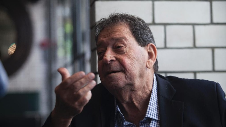 In this photograph taken on April 30, 2014, Binyamin Ben-Eliezer speaks during an interview with The Associated Press in Tel Aviv, Israel. Ben-Eliezer is a former defense minister and one-time head of the Labor Party - another position Peres once held. Among those vying to become Israel's next president are a former defense minister, a former foreign minister, a former finance minister, a respected long-serving lawmaker and a Nobel Prize winner. Amazingly, the man they all seek to replace has held all of those titles and more during a legendary 65-year political career. (AP Photo/Dan Balilty)