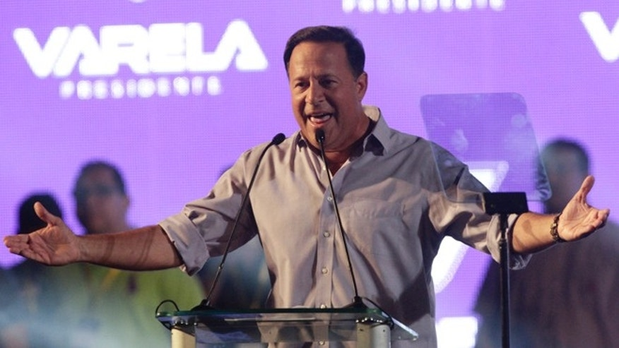 April 27, 2014: Juan Carlos Varela, presidential candidate for the Panamenista Party, delivers a speech during his closing campaign rally in Panama City.