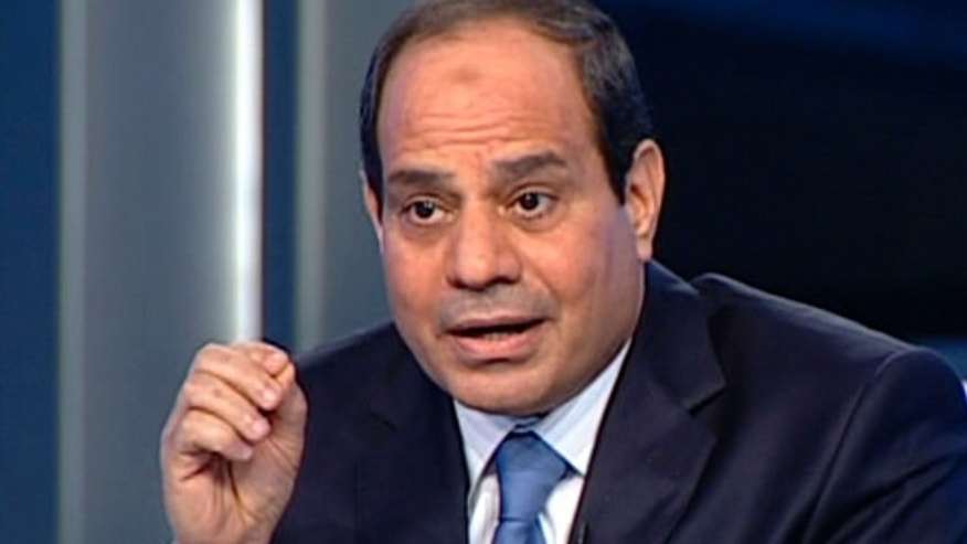 May 5, 2014: In this image made from video broadcast on Egypt's State Television, Egypt's retired Field Marshal Abdel-Fattah el-Sissi listens to a question during an interview in a nationally televised program in Cairo, Egypt.