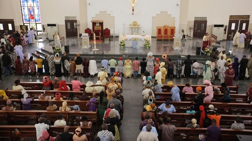 May 11, 2014: Catholic faithful attend a morning Mass given in honor of the kidnapped Chibok schoolgirls, in Abuja, Nigeria.