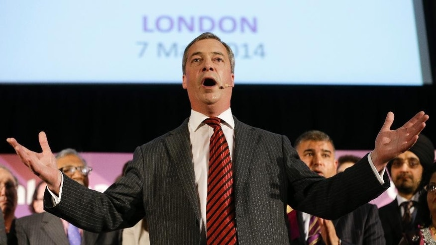 Nigel Farage leader of Britain's United Kingdom Independence Party gives a speech to supporters at a gathering in London, Wednesday, May 7, 2014.  Farage's party could be  on track to win the biggest share of British votes in elections this month for the European Parliament _ a parliament Farage wants to abolish, along with the entire 28-nation EU bloc. (AP Photo/Kirsty Wigglesworth)