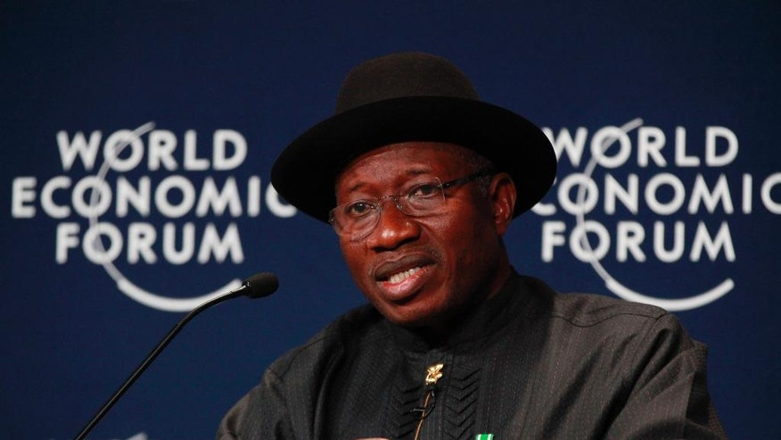 Nigeria President, Goodluck Jonathan, speaks during the World economic forum on Africa in Abuja, Nigeria, Thursday, May 8, 2014. (AP Photo/Sunday Alamba)