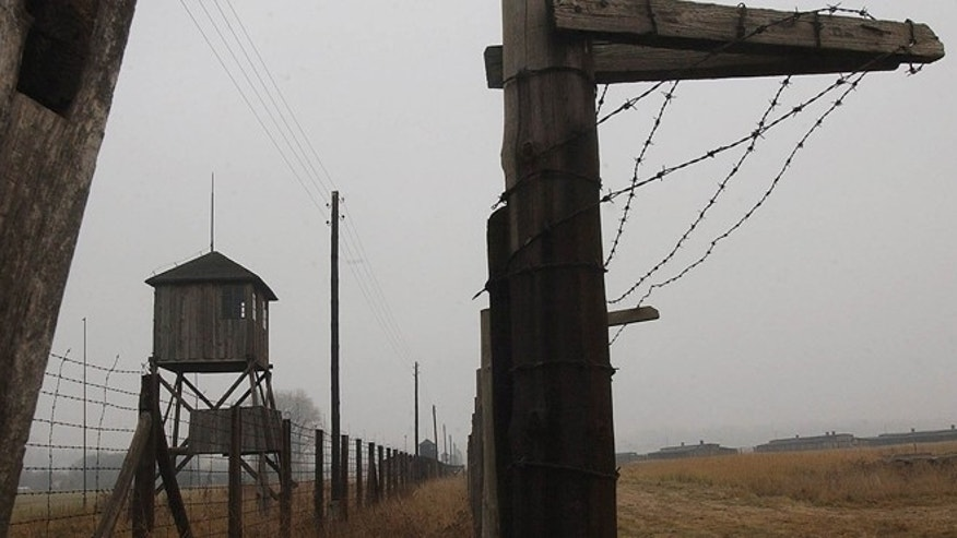 In this Nov. 9, 2005 file picture watch towers and a barbed wire fence of the former Nazi death camp Majdanek outside the city of Lublin in eastern Poland  are photographed.