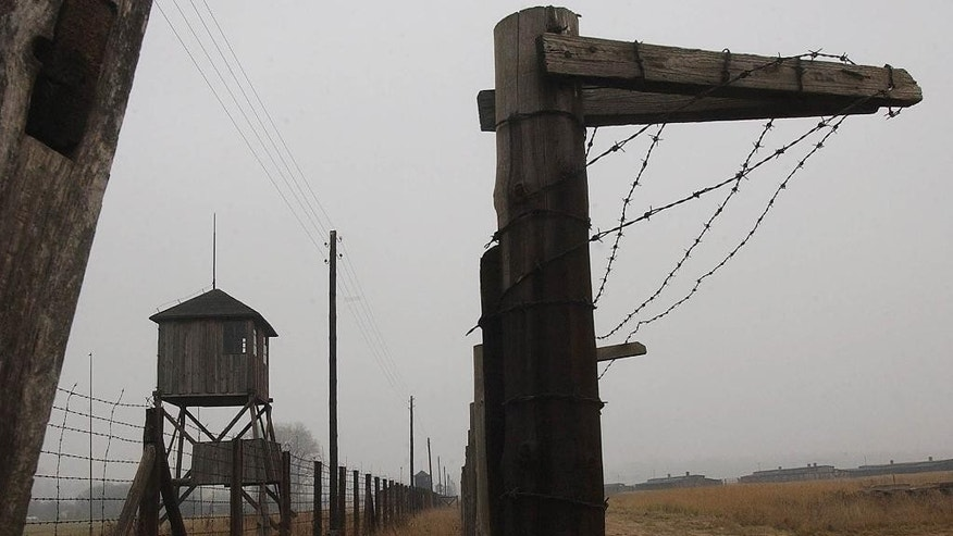 FILE - In this Nov. 9, 2005 file picture watch towers and a barbed wire fence of the former Nazi death camp Majdanek outside the city of Lublin in eastern Poland  are photographed.  The head of Germany's special prosecutors' office that investigates Nazi war crimes says the first phase of a probe of hundreds of former Majdanek death camp guards is nearly complete. Federal prosecutor Kurt Schrimm told reporters Tuesday May 20, 2014  his office was preparing to recommend within the next two weeks that state prosecutors pursue charges against multiple suspects. Schrimm's office has no power to file charges itself.  ( AP Photo / Czarek Sokolowski,file)