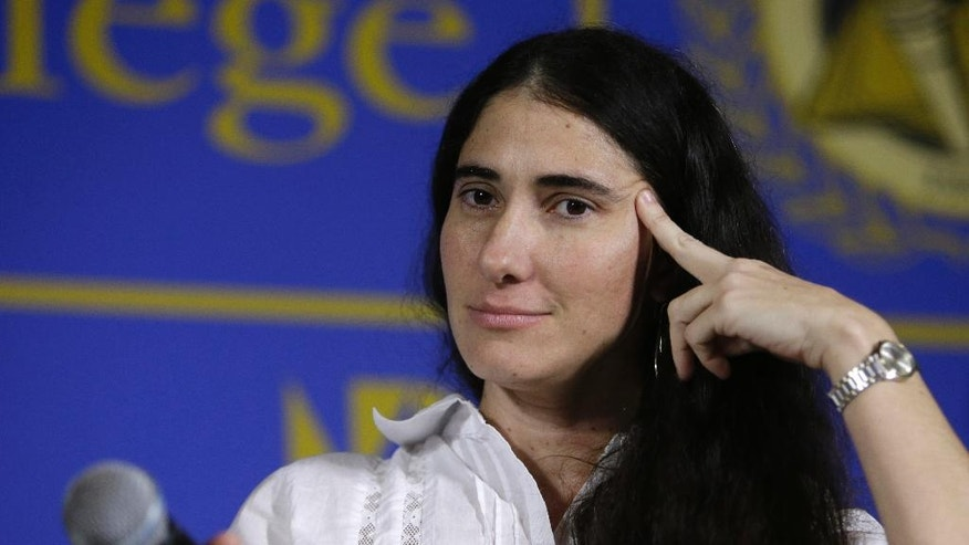 April 1, 2013: In this file photo, Cuba's best-known blogger Yoani Sanchez speaks at the Freedom Tower of Miami Dade College, in Miami, Florida. (AP)