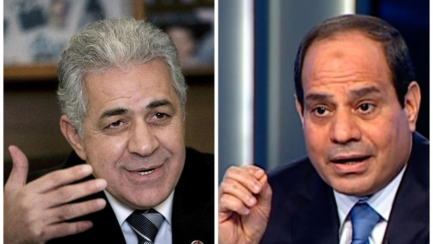 This combo image contains photos of Egyptian presidential candidates, leftist politician Hamdeen Sabahi, left, and retired Field Marshal Abdel-Fattah el-Sissi, right. Voting in the presidential election is set for May 26-27, 2014. (AP Photo)