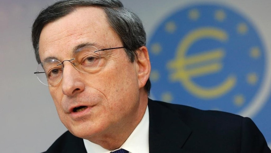 FILE - In this Thursday,  March 6, 2014  file photo President of European Central Bank Mario Draghi speaks during a news conference in Frankfurt, Germany, following a meeting of the ECB governing council.  Investors and analysts are nearly certain: The European Central Bank will take action at its next meeting to boost the tepid recovery. What's not at all certain is how much good that can do. Any help is needed. The weak recovery in the 18 countries that use the euro is a source of risk and uncertainty for the rebounding U.S and global economy. The eurozone economy grew only 0.2 percent in the first quarter, gaining no speed from the quarter before. Worse, inflation is dangerously low at an annual 0.7 percent, well below the ECB's goal of just under 2 percent.. (AP Photo/Michael Probst, File)