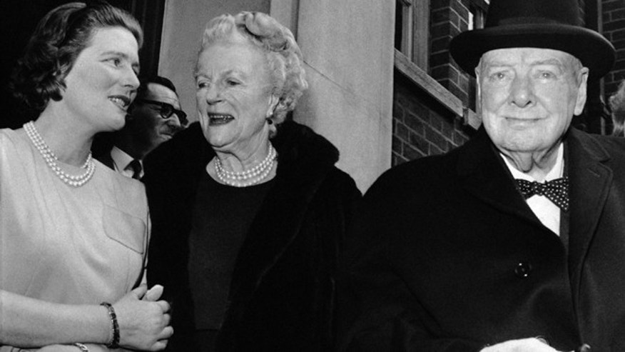In this April 1, 1963 file photo, Sir Winston and Lady Clementine Churchill, take their leave of their daughter Mary, wife of Agriculture Minister Christopher Soames, after a family luncheon party to celebrate Lady Churchill's 78th birthday at Tufton Court, London. (AP)