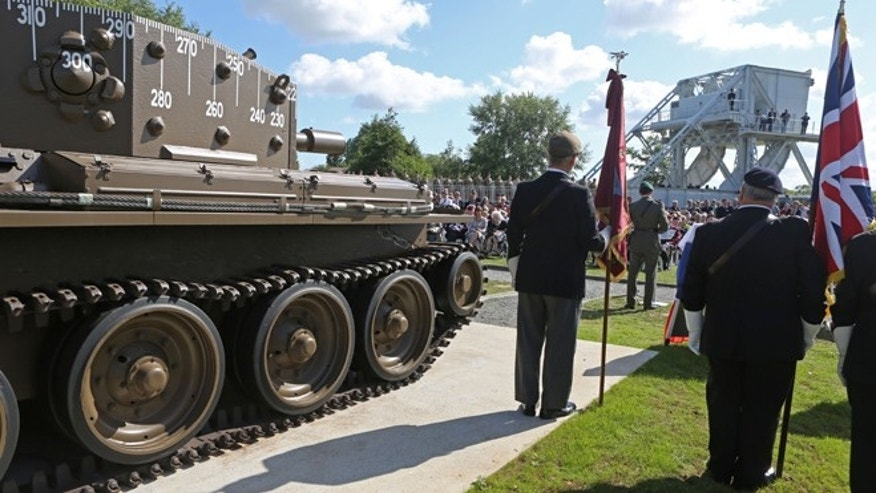 June 5, 2014: A remembrance ceremony is held at Pegasus Bridge memorial in Benouville western France, as part of the commemoration of the 70th anniversary of the D Day. World leaders and veterans prepare to mark the 70th anniversary of the invasion this week in Normandy.