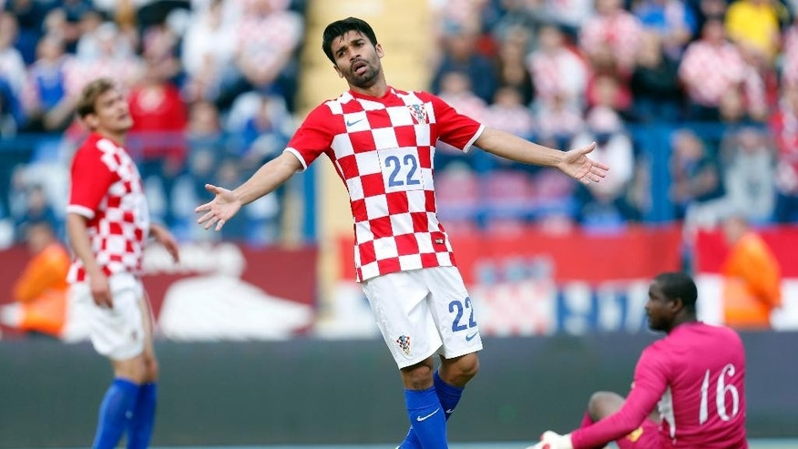 Croatia's Eduardo Da Silva  gestures  during the internationa friendly soccer match between Croatia and Mali, in Osijek, Croatia, Saturday, May 31, 2014. (AP Photo/Darko Bandic)
