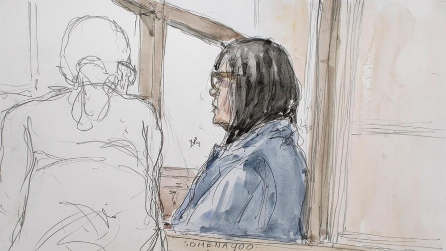 Yoo Somena is shown in this artist's sketch during her court appearance in Paris, France, Wednesday, June 11, 2014. A French judge has refused a request Wednesday to release the daughter of a South Korean tycoon who is believed to be the owner of a ferry that sank last month, leaving more than 300 people dead or missing. French police arrested Yoo Somena on an international arrest warrant issued May 8 by South Korean officials on suspicion that she was involved in embezzlement of $8 million from 2004 to 2013. Yoo, 47, is the daughter of Yoo Byung-eun, a mysterious billionaire whom South Korean authorities believe was the owner of the Sewol ferry that sank April 16.(AP Photo/Benoit Peyrucq)
