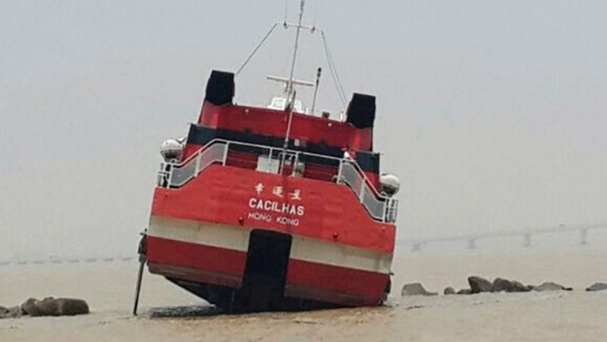 June 13, 2014: A high-speed ferry heading to Macau crashes into a breakwater in Macau's harbor in Macau. (AP)