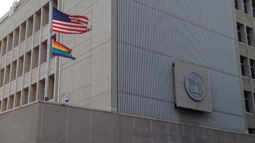 The gay pride flag flying under the Str Spangled Banner above the U.S. Embassy in Tel Aviv has generated mild controversy, but all observers concede Israel's Muslim neighbors would never condone such a display.