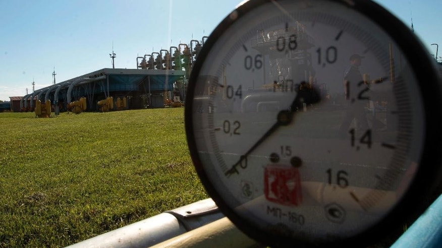 FILE - This Wednesday May 21, 2014 file photo shows a gas pressure gauge in Bil 'che-Volicko-Ugerske underground gas storage facilities in Strij, outside Lviv, Ukraine. Russia on Monday, June 16, 2014, cut gas supplies to Ukraine as a payment deadline passed and negotiators failed to reach a deal on gas prices and unpaid bills amid continued fighting in eastern Ukraine. The decision does not immediately affect the gas flow to Europe, but could disrupt the long-term energy supply to the region if the issue is not resolved, analysts said. (AP Photo/Sergei Chuzavkov, file)