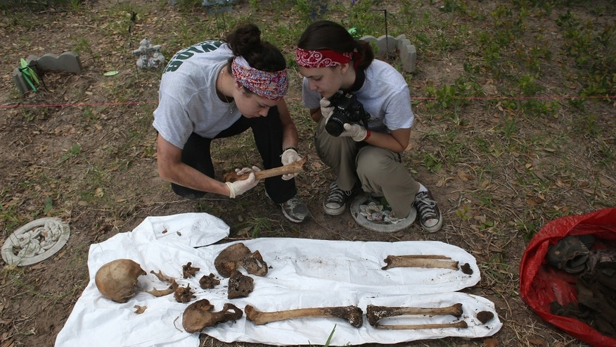 FALFURRIAS, TX - MAY 22:  An anthropology team inspects the skeleton of a suspected undocumented immigrant after they exhumed the bones from a gravesite on May 22, 2013 in Falfurrias, Brooks County, Texas. In Brooks County alone, at least 129 immigrants perished in 2012, most of dehydration while making the long crossing from Mexico. Teams from Baylor University and the University of Indianapolis are exhuming the bodies of more than 50 immigrants who died during their journey. The bodies will be examined and cross checked with DNA sent from Mexico and Central American countries, with the goal of reuniting the remains with families.  (Photo by John Moore/Getty Images)