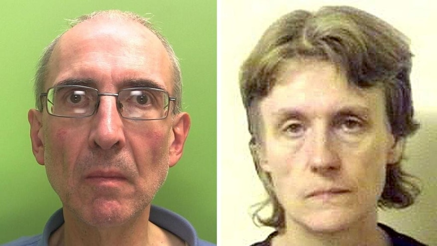 Undated handout file photos issued by Nottinghamshire Police and made available on Friday, June 20, 2014, of Christopher Edwards, 57, and Susan Edwards, 56, who have been found guilty at Nottingham Crown Court of murdering her parents. A British husband and wife have been convicted of murdering the woman's parents, burying their bodies and collecting their pension checks for 15 years. A jury at Nottingham Crown Court found Susan and Christopher Edwards guilty Friday of shooting William and Patricia Wycherly in May 1998. (AP Photo/PA, Nottinghamshire Police) UNITED KINGDOM OUT NO SALES NO ARCHIVE
