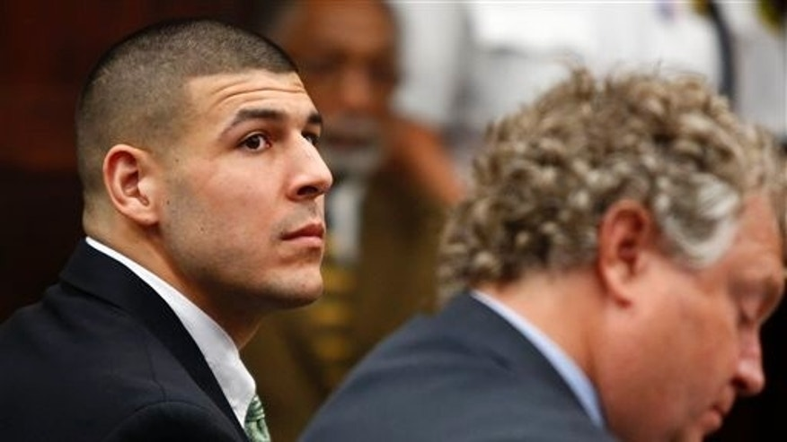 Former New England Patriots tight end Aaron Hernandez in a May 28, 2014, file photo.
