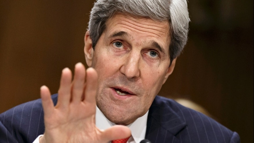 April 8, 2014: Secretary of State Kerry testifies on Capitol Hill in Washington.