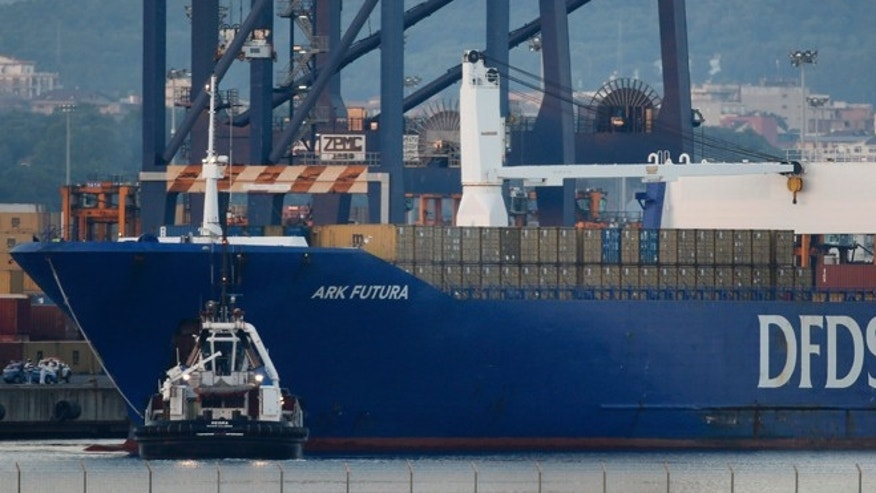 July 2, 2014.: The Danish cargo ship Ark Futura arrives at Gioia Tauro port, southern Italy.