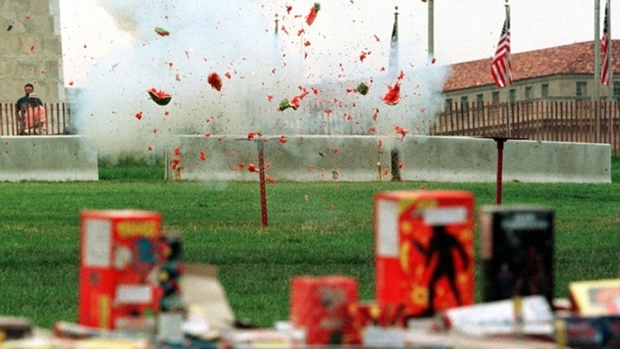 371812 03: A water melon is blown with fireworks during a demonstration at a fireworks safety press conference June 28, 2000 on the National Mall in Washington D.C. About 8,500 people were treated in hospital emergency rooms for fireworks-related injuries in 1999. (Photo by Alex Wong/Newsmakers)