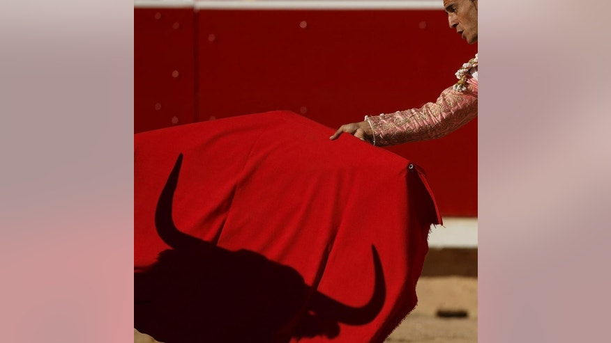 "Spanish bullfighter Ivan Fandino performs during a bullfight of the San Fermin festival, in Pamplona, Spain, Wednesday, July 9, 2014. Revelers from around the world arrive in Pamplona every year to take part on some of the eight days of the running of the bulls glorified by Ernest Hemingway's 1926 novel ""The Sun Also Rises."" (AP Photo/Daniel Ochoa de Olza)"
