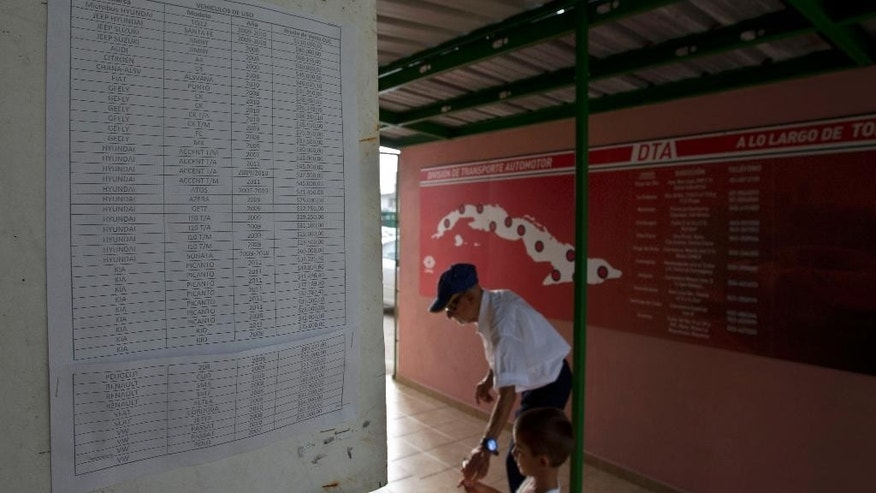 In this July 3, 2014, photo, prices are display at a car dealership that sells used vehicles in Havana, Cuba. With just 50 vehicles rolling off the lots of state-run dealerships in the first six months since the passing of a new law that allows Cubans to buy vehicles from the government without a special permit, and with 400 percent markups on the price the vehicles, it's easy to see the policy as a failure. But analysts say it seems to be working exactly as designed: To sell as few cars as possible. (AP Photo/Franklin Reyes)