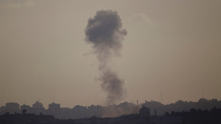 July 14, 2014 - Smoke rises after an Israeli strike on Gaza Strip, seen from Israel Gaza Border. Israel began its campaign against militants in the Hamas-controlled Gaza Strip last Tuesday, saying it was responding to heavy rocket fire from the densely populated territory.