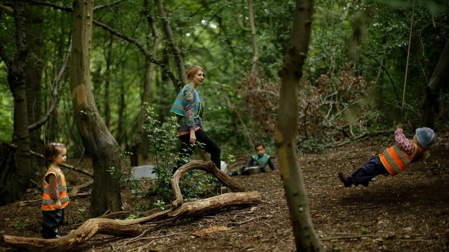 """In this photo taken Tuesday, July 8, 2014, children play at the """"Into the Woods"""" outdoor children's nursery in Queen's Wood, in the Highgate area of north London. In the heart of north London lies the ancient Queens Wood, a green forest hidden away in a metropolis of more than 8 million residents. The sounds of the city seem to fade away as a group of children plays in a mud kitchen, pretending to prepare food and saw wood. (AP Photo/Matt Dunham)"""