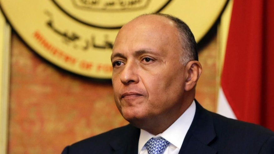 "FILE - In this Friday, July 18, 2014, file photo, Egyptian Foreign Minister Sameh Shukri speaks during a news conference at the Egyptian Foreign Ministry in Cairo. Even as the death toll mounts in the Gaza Strip, attempts to broker a cease-fire between Hamas and Israel have so far run aground, in part because they have become mired in the deep schism between Mideast countries. Shukri said Egypt is in a ""very tense and difficult"" relationship with Hamas, where reaching common ground is nearly ""impossible."" (AP Photo/Amr Nabil, File)"