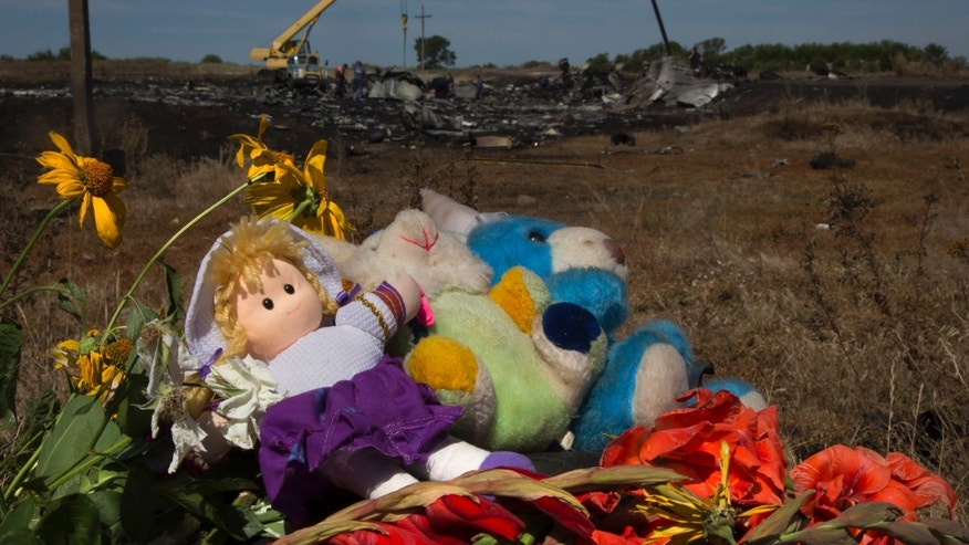 July 21, 2014 - Toys and flowers are placed at the crash site of Malaysia Airlines Flight 17 near the village of Hrabove, eastern Ukraine. Another 21 bodies have been found in the sprawling fields where Malaysia Air Flight 17 was downed last week, killing all 298 people aboard.