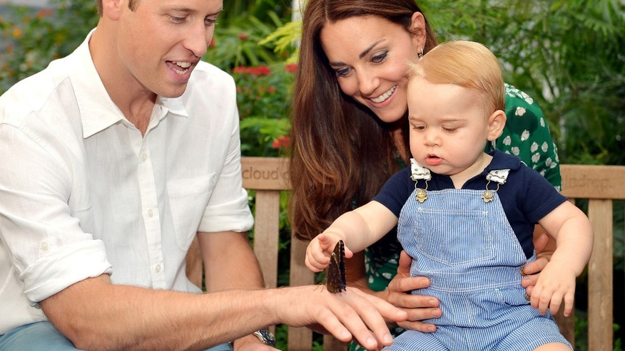July 2, 2014: This photo released  to mark Prince George';s first birthday, shows Britain's Prince William and Kate Duchess of Cambridge and the Prince during a visit to the Sensational Butterflies exhibition at the Natural History Museum, London.