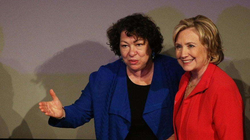 NEW YORK, NY - JULY 25:  Former Secretary of State Hillary Clinton (R) joins Supreme Court Justice Sonia Sotomayor at the campus of Lehman College for the Dream Big Day at the Bronx Children's Museum on July 25, 2014 in the Bronx borough of New York City. Children with the museum program, which is located on the Lehman campus, put on a performance for Clinton, Sotomayor and some members of the City Council. The Dream Big program is a six-week summer arts enrichment program which was first created in 2010.  (Photo by Spencer Platt/Getty Images)